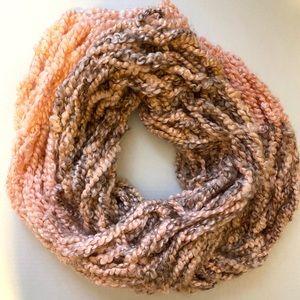 5/$25 Pink and Tan Handmade Infinity Scarf
